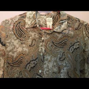 Vintage J. Crew Perfect Shirt Paisley Silk Cotton
